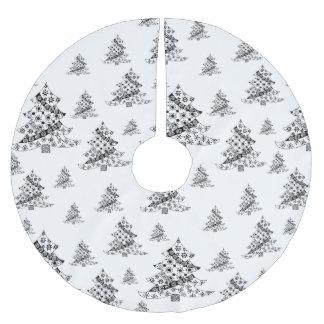 Falda Para El Árbol De Navidad De Poliéster Árboles de navidad negros y día de fiesta blanco