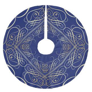 Falda Para El Árbol De Navidad De Poliéster Azul afiligranado de Scrollwork de oro de la