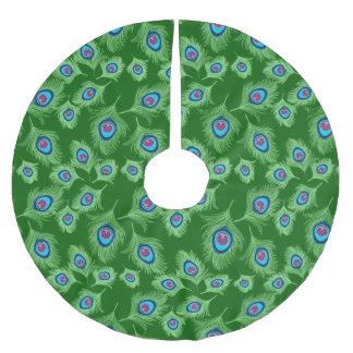 Falda Para El Árbol De Navidad De Poliéster Cal y plumas azules del pavo real en verde