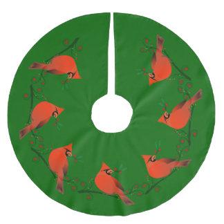 Falda Para El Árbol De Navidad De Poliéster Cardenal del país en rama con día de fiesta de las