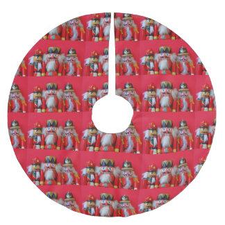 Falda Para El Árbol De Navidad De Poliéster Cascanueces en uniformes rojos