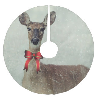 Falda Para El Árbol De Navidad De Poliéster Ciervos del navidad