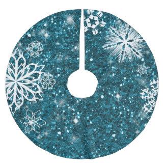 Falda Para El Árbol De Navidad De Poliéster Copos de nieve en la turquesa ID454 del purpurina