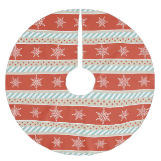Falda Para El Árbol De Navidad De Poliéster El beige rojo de la menta del vintage raya el