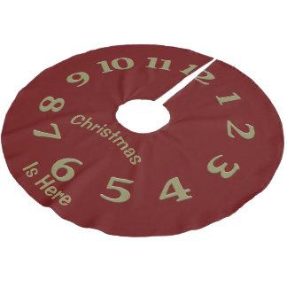 Falda Para El Árbol De Navidad De Poliéster El navidad mide el tiempo está aquí