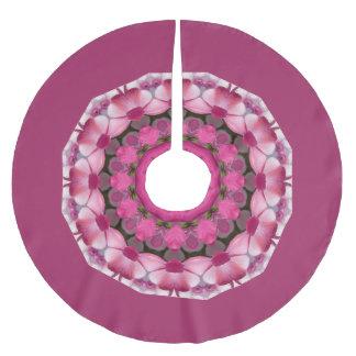 Falda Para El Árbol De Navidad De Poliéster El rosa hermoso florece 02,5, navidad de la