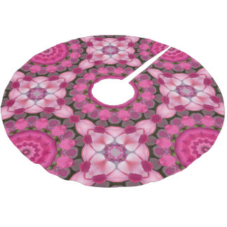 Falda Para El Árbol De Navidad De Poliéster El rosa hermoso florece 02,6, navidad de la