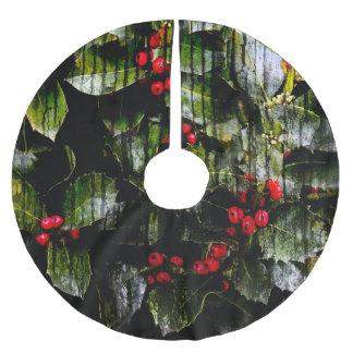 Falda Para El Árbol De Navidad De Poliéster Falda del árbol de la baya del acebo