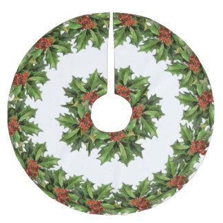 Falda Para El Árbol De Navidad De Poliéster Falda del árbol de navidad del acebo del vintage