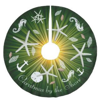 Falda Para El Árbol De Navidad De Poliéster Falda verde del árbol de la vida marina del