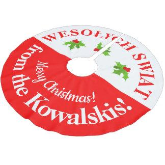 Falda Para El Árbol De Navidad De Poliéster Felices Navidad Pulimento-Americanas de Wesolych