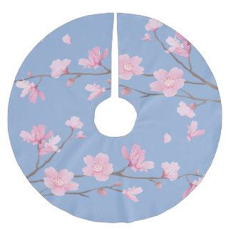 Falda Para El Árbol De Navidad De Poliéster Flor de cerezo - azul de la serenidad