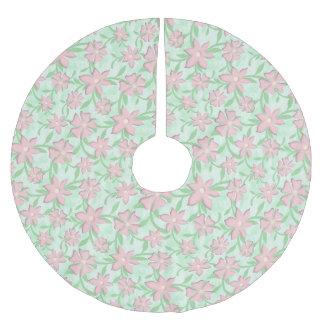 Falda Para El Árbol De Navidad De Poliéster Flores rosadas de la primavera de la floración de