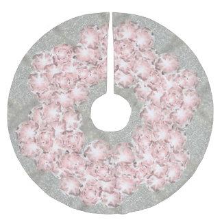 Falda Para El Árbol De Navidad De Poliéster Gemas polvorientas del rosa color de rosa en gris