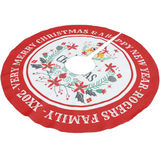 Falda Para El Árbol De Navidad De Poliéster Guirnalda de las Felices Navidad y búho lindo