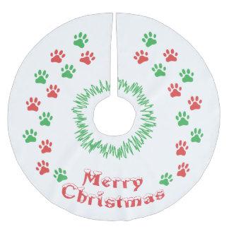 Falda Para El Árbol De Navidad De Poliéster Impresión de la pata de las Felices Navidad