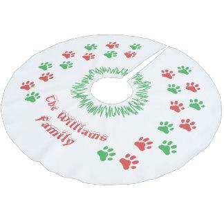 Falda Para El Árbol De Navidad De Poliéster La pata personalizada del navidad imprime la falda
