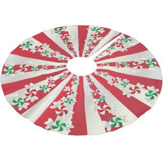 Falda Para El Árbol De Navidad De Poliéster Mentas del caramelo de las Felices Navidad