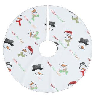 Falda Para El Árbol De Navidad De Poliéster Modelo caprichoso del muñeco de nieve del navidad