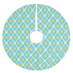 773e1e06eebf9 Falda Para El Árbol De Navidad De Poliéster Modelo tribal azteca amarillo  azul de moda de