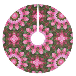 Falda Para El Árbol De Navidad De Poliéster Naturaleza color de rosa de la flor, mandala para