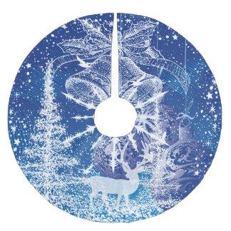 Falda Para El Árbol De Navidad De Poliéster Navidad Belces blanco y fondo del azul de los