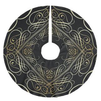 Falda Para El Árbol De Navidad De Poliéster Negro afiligranado de Scrollwork de oro de la