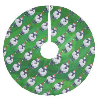 Falda Para El Árbol De Navidad De Poliéster Ovejas lindas en el gorra de Santa en verde