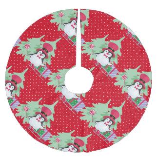 Falda Para El Árbol De Navidad De Poliéster Pingüino festivo con el trineo - rojo