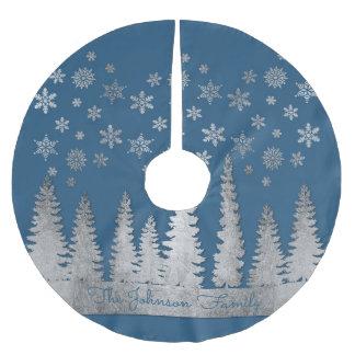 Falda Para El Árbol De Navidad De Poliéster Plata del apellido y país de las maravillas azul