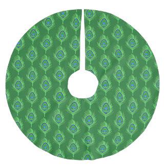 Falda Para El Árbol De Navidad De Poliéster Plumas del pavo real, verde lima en verde