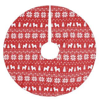 Falda Para El Árbol De Navidad De Poliéster Rojo maltés del modelo del navidad de las siluetas