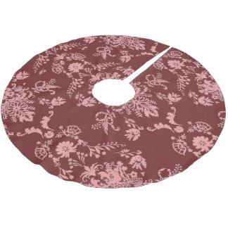 Falda Para El Árbol De Navidad De Poliéster Rosa en el damasco marrón