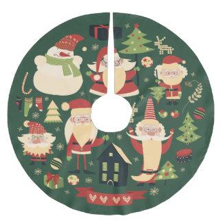 Falda Para El Árbol De Navidad De Poliéster Santa dulce casero
