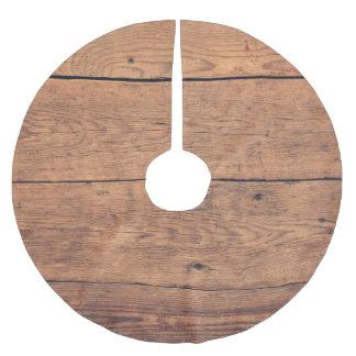 Falda Para El Árbol De Navidad De Poliéster Textura de madera