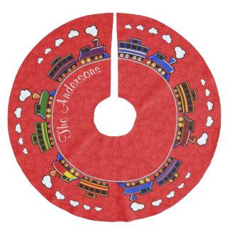 Falda Para El Árbol De Navidad De Poliéster Trenes coloridos personalizados del juguete