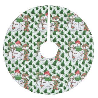 Falda Para El Árbol De Navidad De Poliéster Tres Carolers del muñeco de nieve