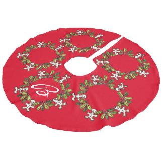 Falda roja del árbol de la guirnalda adaptable falda de árbol de navidad de imitación de lino