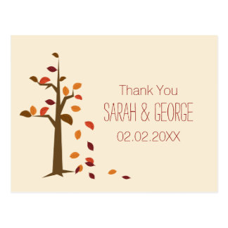 fall tree wedding Thank You Post Cards