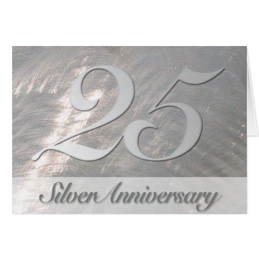 Falsa (25ta) invitación de plata metálica del aniv tarjetón