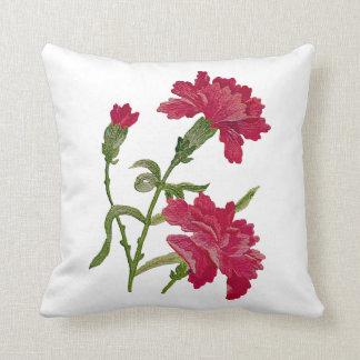 Falsa almohada roja bordada de los claveles