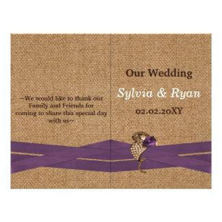 FALSA arpillera y boda púrpura del país del cordón Folleto 21,6 X 28 Cm