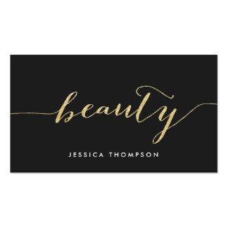 Falsa belleza negra elegante de la cosmetología tarjetas de visita
