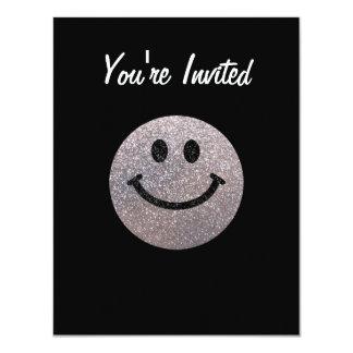 Falsa cara de plata del smiley del brillo invitación 10,8 x 13,9 cm