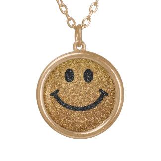 Falsa cara del smiley del brillo del oro pendientes personalizados