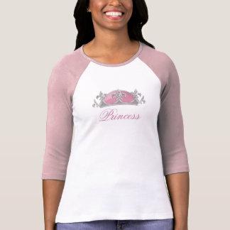 Falsa corona rosada y de plata con los diamantes camiseta