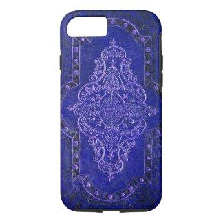 Falsa cubierta de libro de cuero azul antigua funda iPhone 7