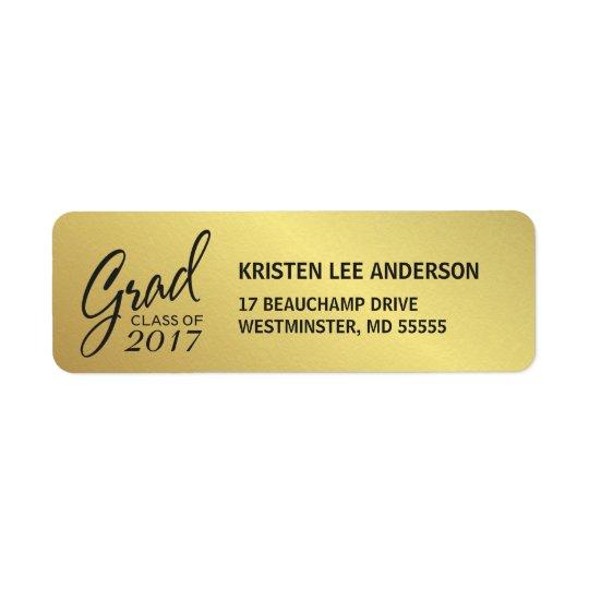 Falsa escritura elegante de la hoja de oro de la etiqueta de remitente