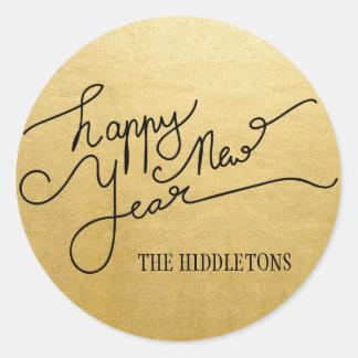 Falsa escritura moderna de la Feliz Año Nuevo de Pegatina Redonda