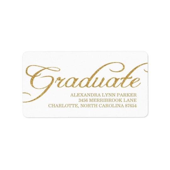 Falsa etiqueta de dirección de la graduación del